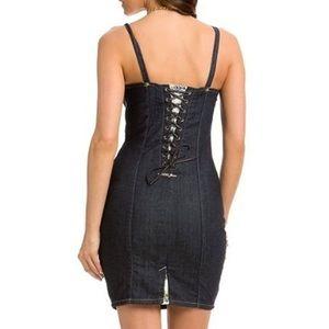 GUESS Corset Holly Dark Denim Straight Mini Dress